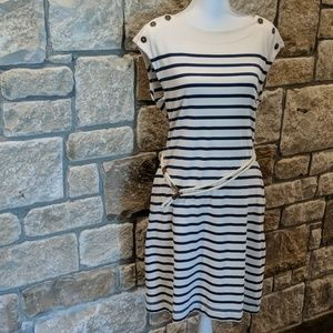 Jersey Sailor Stripe Blue& Cream Dress